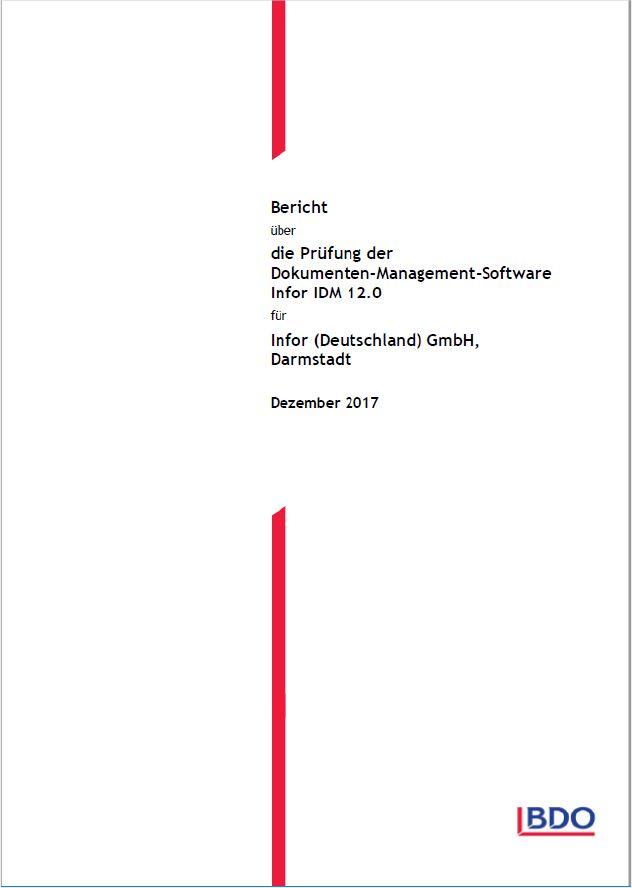 Abbildung Titelblatt des Prüfberichts über die Prüfung der DMS Software Infor IDM