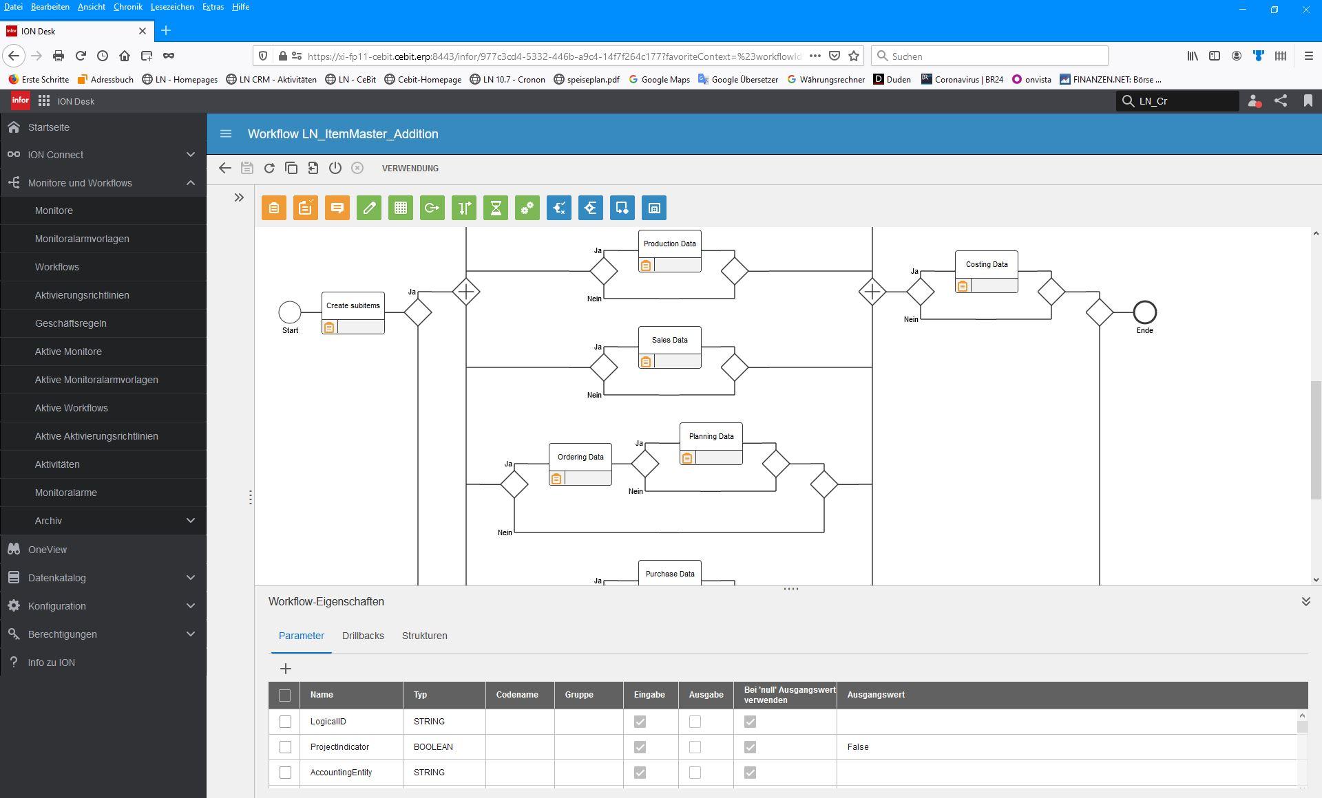 Screenshot eines Infor OS Workflows