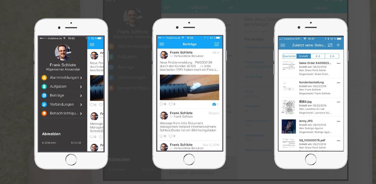 Screenshots von Infor OS auf dem Smart Phone