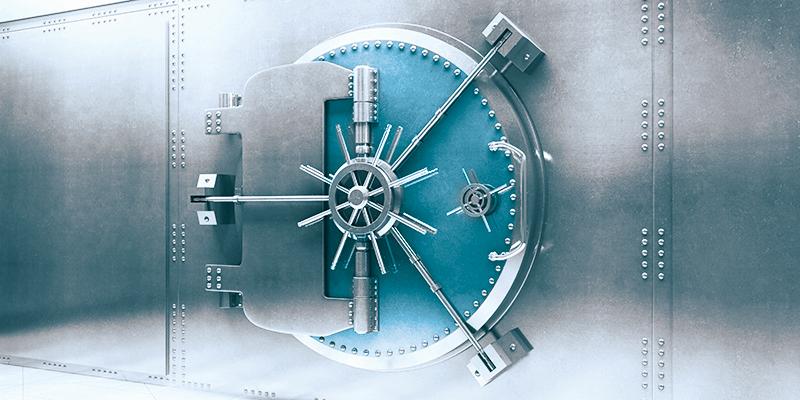 Tresortür als Illustration für sichere Cloud und Hosting Services von Cronon